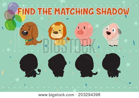 A vector illustration of Animals Shadow Matching Game for Kids