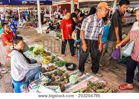 Keningau,Sabah,Malaysia-June 29,2017:View of local market called Tamu in Keningau,Sabah Borneo,Malaysia.Its a place where all farmers,fishermen & vendors gathers weekly to sell their products