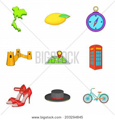 Thing from England icons set. Cartoon set of 9 thing from england vector icons for web isolated on white background