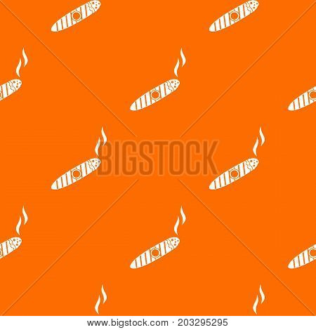 Cigar pattern repeat seamless in orange color for any design. Vector geometric illustration