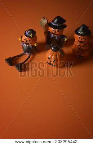 Halloween pumpkins jack-o-lantern on orange background. Halloween pumpkin background. Halloween. jack-o-lantern. Halloween jack-o-lantern. Happy Halloween.