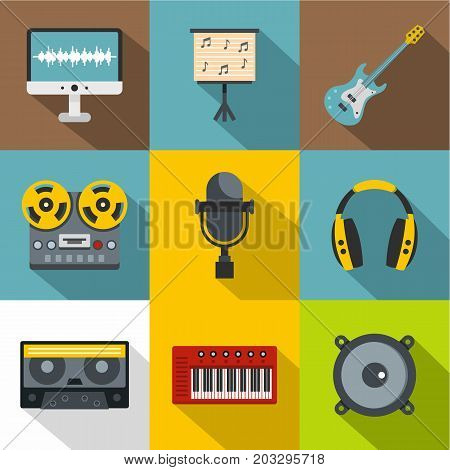 Sound studio icon set. Flat style set of 9 sound studio vector icons for web design