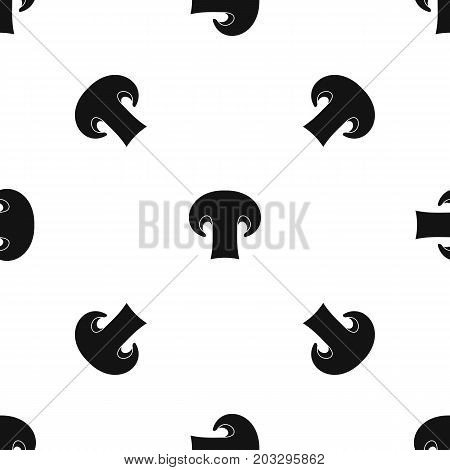 Champignon mushroom pattern repeat seamless in black color for any design. Vector geometric illustration
