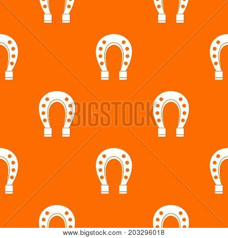 Horse shoe pattern repeat seamless in orange color for any design. Vector geometric illustration