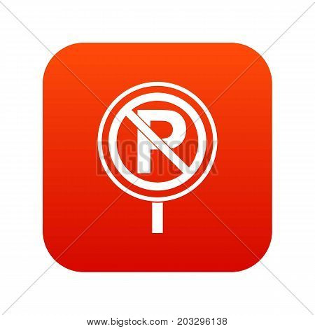No parking sign icon digital red for any design isolated on white vector illustration