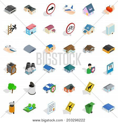 Suburb icons set. Isometric style of 36 suburb vector icons for web isolated on white background