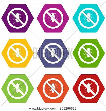 No cockroach sign icon set many color hexahedron isolated on white vector illustration