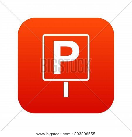 Parking sign icon digital red for any design isolated on white vector illustration