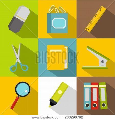 Stationery symbols icon set. Flat style set of 9 stationery symbols vector icons for web design