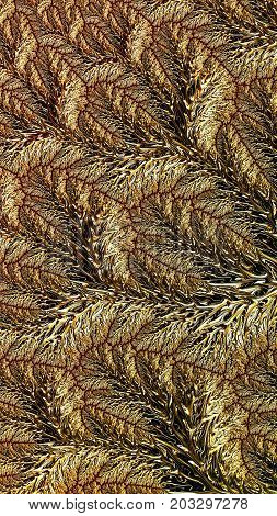 Golden fractal texture - abstract computer-generated image. Digital art: intricate pattern like floral ornament. For covers, banners, prints.