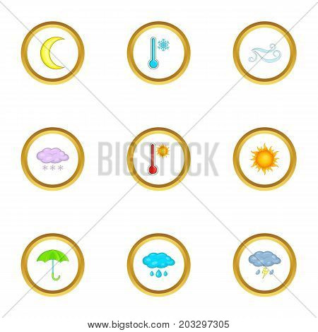 Weather conditions icons set. Cartoon set of 9 weather conditions vector icons for web isolated on white background