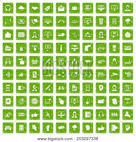 100 contact us icons set in grunge style green color isolated on white background vector illustration