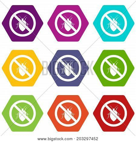 No bug sign icon set many color hexahedron isolated on white vector illustration