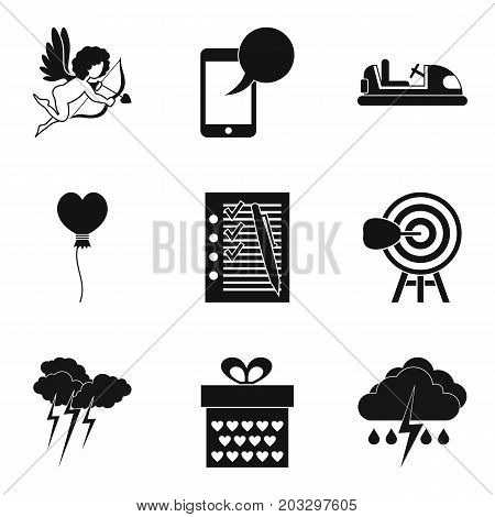 Exactly in the target icons set. Simple set of 9 exactly in the target vector icons for web isolated on white background