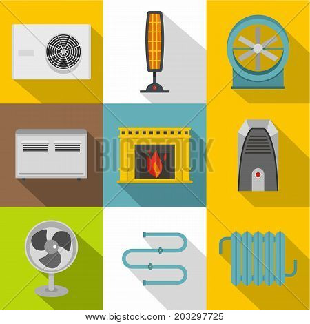 Electric heater icon set. Flat style set of 9 electric heater vector icons for web design