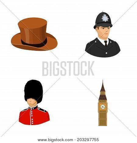 England, gentleman, hat, officer .England country set collection icons in cartoon style vector symbol stock illustration .