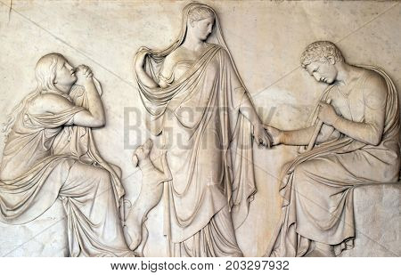 ROME, ITALY - SEPTEMBER 03: Funerary monument of Clelia Severini, Portico of Church of St Lawrence at Lucina, Rome, Italy on September 03, 2016.