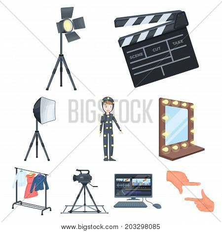 A movie camera, a floodlight, a chromakey and other equipment for the cinema.Making movie set collection icons in cartoon style vector symbol stock illustration .