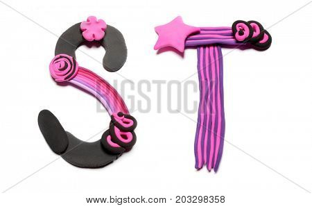 Plasticine letters S and T. Color plasticine alphabet, isolated on white background. Pink and black color of the alphabet. Emo style