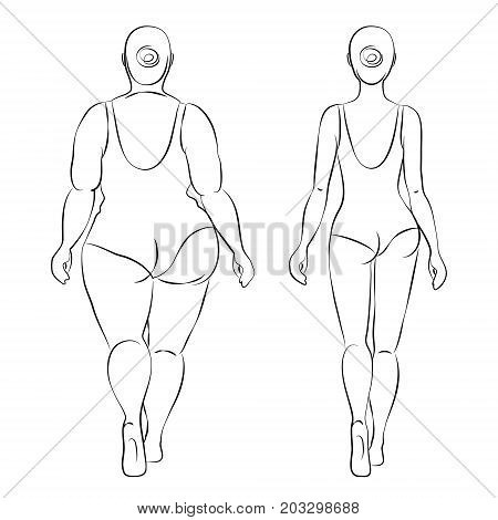 Fat woman and slender woman dressed in swimsuits. Back view. Outline drawing. Overweight and slenderness. Healthy and unhealthy lifestyle