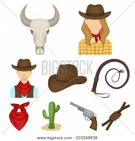 A set of pictures about cowboys. Cowboys on the ranch, horses, weapons, whips.Rodeo icon in set collection on cartoon style vector symbol stock web illustration.