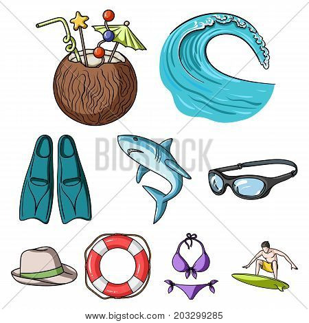 A collection of pictures on the theme of the beach, the sea, surfing. Rescuers of the beach.Surfing icon in set collection on cartoon style vector symbol stock web illustration.