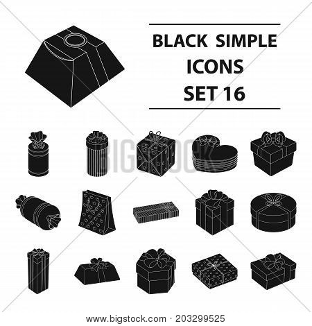 Box, Ribbon, bow and other packing material. Gifts and Certificates set collection icons in black style vector symbol stock illustration .