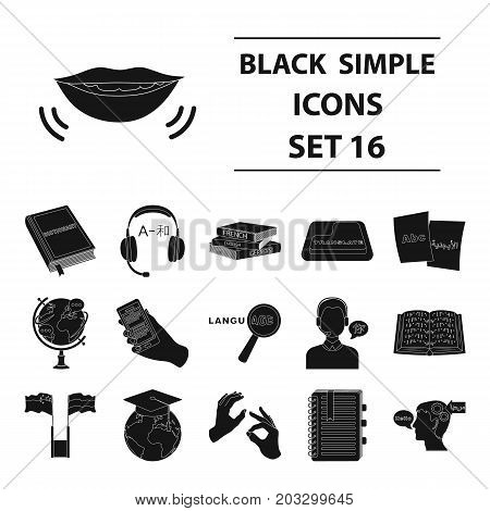 Interpreter and translator set icons in black design. Big collection of interpreter and translator vector symbol stock illustration