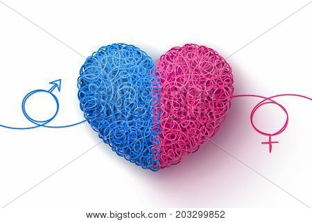 Male and female symbols and heart woven from blue and pink threads. Heterosexual love