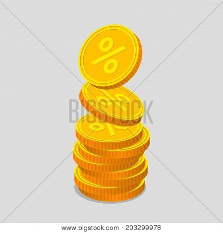 Stack of gold coins with percent signs. Coins are falling from the top so stack is increasing. Income concept