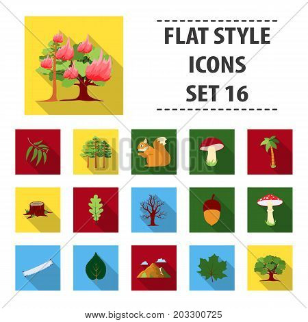 Forest set icons in flat style. Big collection forest vector symbol stock