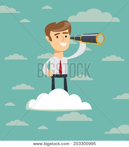 businessman with telescope on cloud . Business Vision Concept. Stock flat vector illustration.