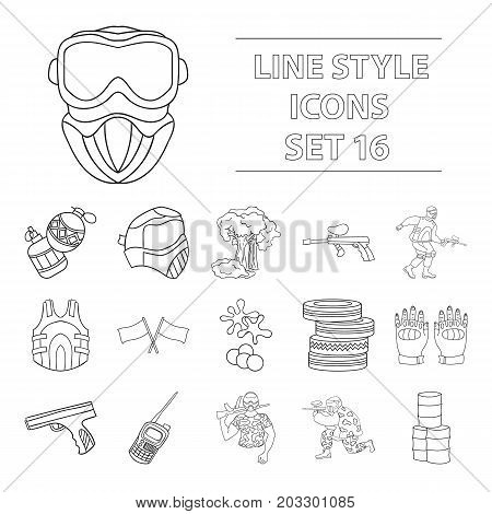 Paintball set icons in outline design. Big collection of paintball vector symbol stock illustration