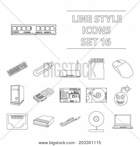 Personal computer set icons in outline style. Big collection personal computer vector symbol stock