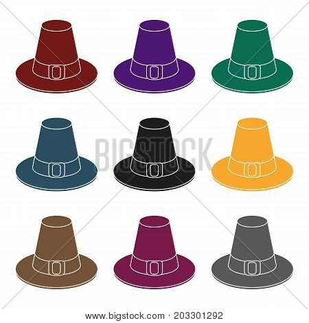 Pilgrim hat icon in black style isolated on white background. Canadian Thanksgiving Day symbol vector illustration.
