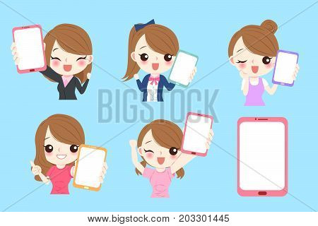 girl take digital tablet on the blue background