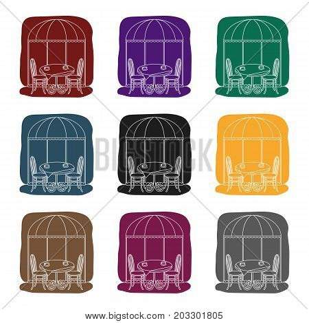 Served table near cafe icon in black design isolated on white background. France country symbol stock vector illustration.