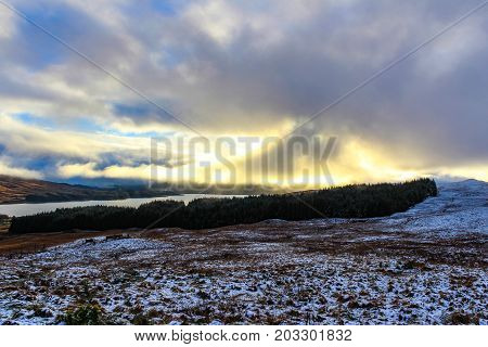 Winter's sunset in the Scottish Highlands from Fort William.