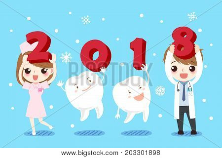 doctor and tooth with happy new year on the blue background