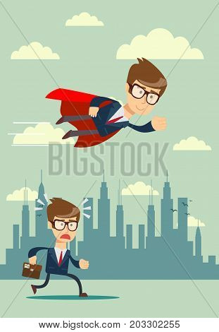 Illustration of businessman with red cape fly pass his competitor. Stock flat vector illustration.