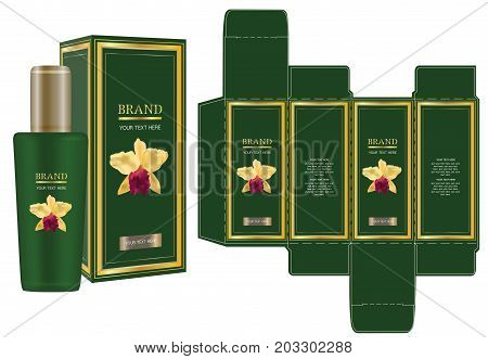 Label on packaging container with yellow orchid on green background box design template and mockup box. Illustration vector
