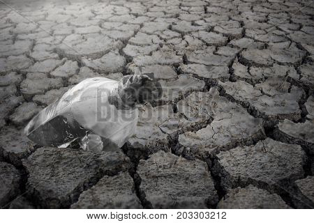 Symbol for help SOS Water shortage Crack ground mud drought.