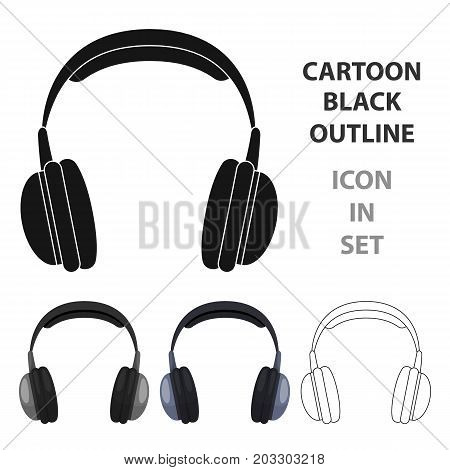 Vintage headphones icon in cartoon design isolated on white background. Hipster style symbol stock vector illustration.