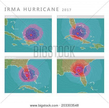 Irma hurricane 2017, detailed forecast vector background