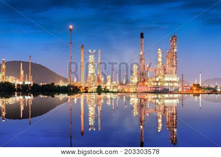 Landscape of oil refinery plant at twilight scene