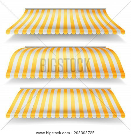 Striped Awnings Vector Set. Large Striped Awnings For Shop And Market Store. Isolated On White Background Illustration