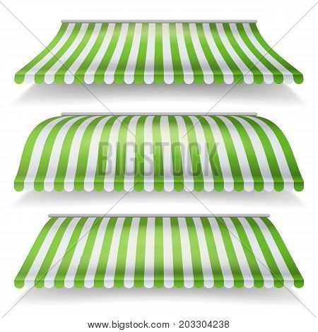 Awnings Vector Set. Different Forms. Italian Awning Striped For Market Store. Isolated Illustration