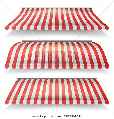 Classic Red And White Awning Vector Set. Realistic Store Awning Isolated On White Background
