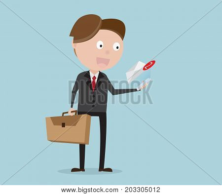 businessman standing with message alert from smartphone cartoon vector illustration