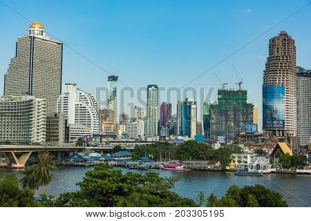 Bangkok Cityscape With Lebua State Tower. Modern South-east Asia Megalopolis